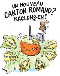 Die Befürworter der Jura-Fusion werben mit Käse.
