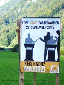 «Keis Knorz», empfahl die Junge CVP Nidwalden, sondern «Majorz!»