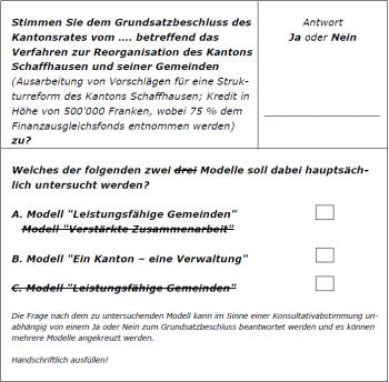 Entwurf des Stimmzettels zur Konsultativabstimmung, welche das Bundesgericht aufgehoben hat