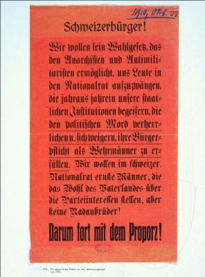 Keine «Anarchisten und Antimilitaristen» im Parlament: So warben die Proporzgegner 1910 für ein Nein. Bild: Europeana