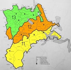 Der «Eschermander»: Die Wahlkreise für die Nationalratswahlen 1851 im Kanton Luzern. Der gelb eingefärbte Wahlkreis repräsentiert die «Kalkregion» (3 Sitze), der orange die «Molasseregion» (2 Sitze) und der grüne die «Ebene» (2 Sitze).