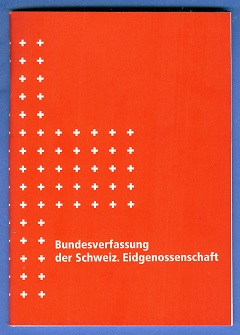 Ein Exemplar der Schweizer Bundesverfassung (Bild: Wikipedia).