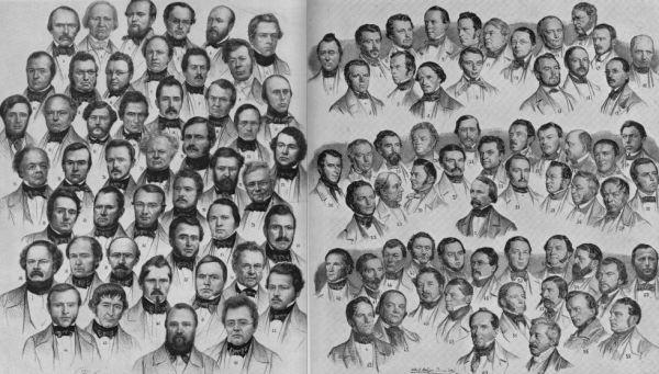 Nach zahlreichen Wahlgängen endlich versammelt: Der erste Nationalrat nach den Wahlen 1848. Bild: Erich Gruner: Die Schweizerische Bundesversammlung 1848-1920