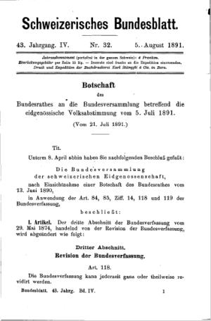 Bundesblatt, das die Einführung der Volksinitiative auf Teilrevision der Bundesverfassung kundtat (BBl 1891 IV 1).
