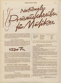 «Nationales Preisausschreiben für Musiker», «Schweizer Illustrierte Zeitung», Nr. 43, 23. Oktober 1935.