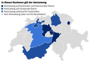 Sieben Kantonen kennen heute noch den Amtszwang (zum Vergrössern klicken).